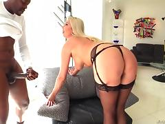 Sheer stockings on the hot blonde milf going anal porn tube video