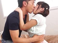 Cute Japanese cocksucker with nice tits rides him porn tube video
