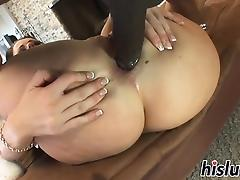Lusty bitch pleasures a big black dick