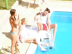Three chicks secret coitus by the pool tube porn video