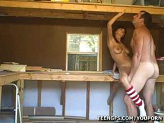 Amateur Couple Fucking In The Woodshed