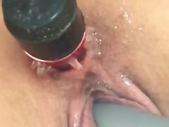 Toying Her Pussy With Dildo In Her Ass