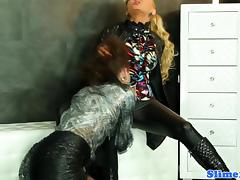Clothed les straponfucking while cumdrenched tube porn video