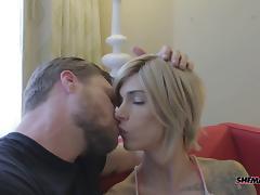 Big bareback dick fucks a beautiful tranny with sexy tits porn tube video