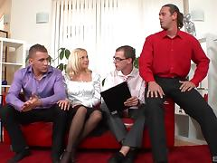 Libidinous blonde enjoys every moment of the foursome penetration