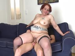 Fat old redhead and a big dick fucking hardcore