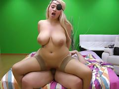 Busty blonde with an eye patch and her adventure with the fat guy porn tube video