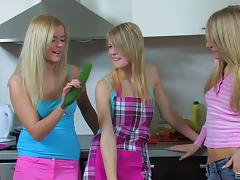 Zucchini fucking lesbian chicks have a threesome