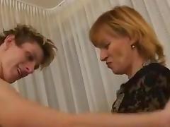 Blond mom fucks her little boy
