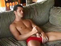 Preston Parker cum like fountain on sofa