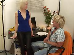 Tight leather pants babe sucking dick in his home office