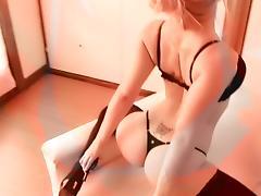 Busty Blonde Teen Has Big Round Ass In Lingerie & High Heels