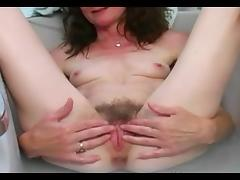 Very Sensual Mature rubbing her hairy pussy tube porn video