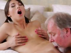 Alluring young chick takes old nasty shlong in her throat
