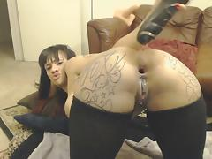 Tattoued big butt squirt while anal porn tube video