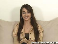 Cute brunette is patient until she opts to pleasure her pussy by her own on the sofa