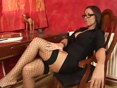 Vixenish brunette milf in glasses strokes her pussy gently with a toy porn tube video