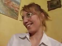 French blonde with glasses gets her perfect butt fucked porn tube video