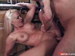 MILF skips lunch so she can get some hard cock deep inside her porn tube video