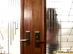 CFNM femdoms teach Roxanne Hall how to fuck