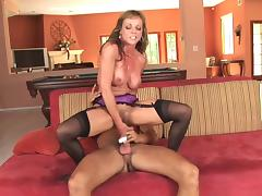 Sexy mature in stockings takes a facial porn tube video