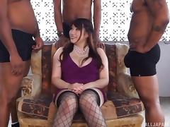 Three hard black dicks jerked off by a Japanese babe