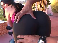 Big ass in spandex drives the black guy crazy with lust