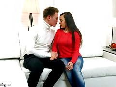 Red sweater babe stripped and fucked erotically by his big dick tube porn video
