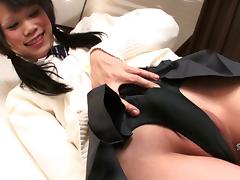 Alluring shemale from Japan plays with the toy and strokes her dick porn tube video