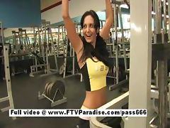 Lovely Busty brunette girl flashing in the gym tube porn video
