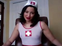 Webcam girl dressed up to instruct