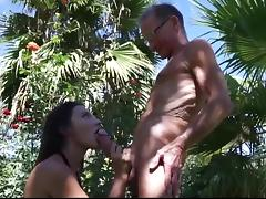 Julie Fucks a 75 Years Old Man in Park porn tube video