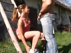 Country, Blowjob, Brunette, Country, Facial, Farm
