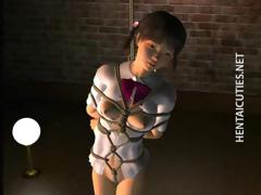 Roped in hentai slave gets tortured