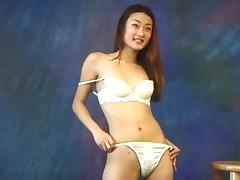 Slender Asian underwear model has a nice bush to show you porn tube video