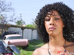 Black chick bent over a pink Cadillac and fucked by a big dick