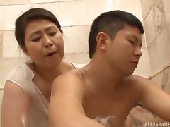 Mizuno finally has a chance to suck the dick inside her bathroom