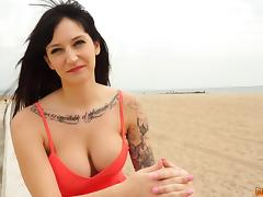 Babe with big tits and tattoos gets the meat spike slammed inside her porn tube video