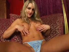 Tight body and fake tits on a blonde taking a pounding