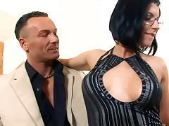 Secretary Renata fucked in black fishnet stockings porn tube video