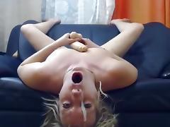 Russian slut fucks her throat with her dildo porn tube video