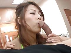Seductive asian drools over this hard cock
