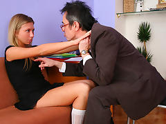 TrickyOldTeacher - Sassy blonde student exchanges help with blowjob and hard pussy fucking porn tube video
