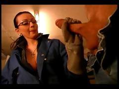 Slutty femdom giving a nice handjob