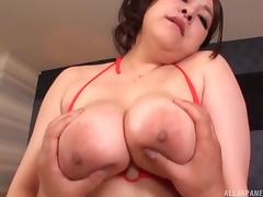 Japanese fat girl dressed in red lingerie for hardcore fucking porn tube video