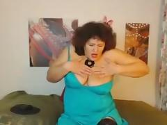 Messy haired chubby perverted busty nympho masturbated like a mad porn tube video