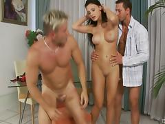 Euro girl is here for a double team and two loads of cum