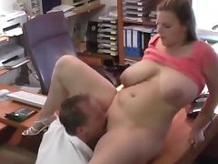 Huge melons bouncing in the office porn tube video