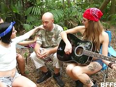 jacked off by three hotties in the woods porn tube video