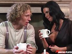 Sharing hot chocolate and sexy fucking with a busty milf porn tube video